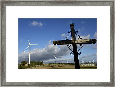 Cros And Winturbine Framed Print by Bernard Jaubert