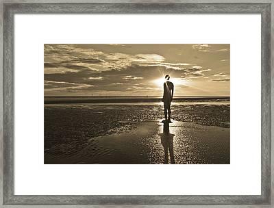 Crosby Beach Sepia Sunset Framed Print by Paul Madden