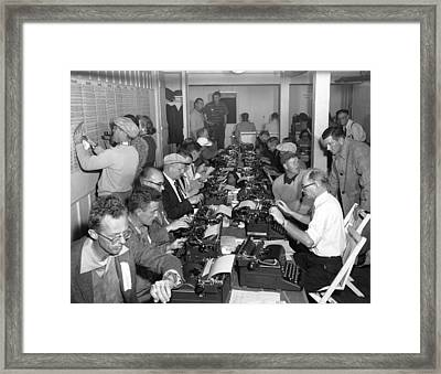 Crosby Clambake Press Room Framed Print by Underwood Archives