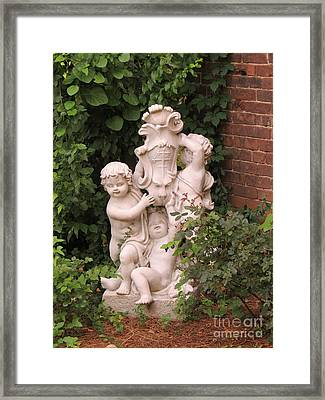 Cross And Cerubs Framed Print by Aimee Mouw