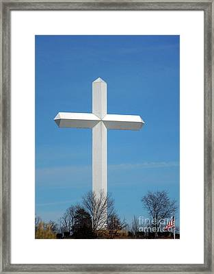 Cross And Flag Under God Framed Print