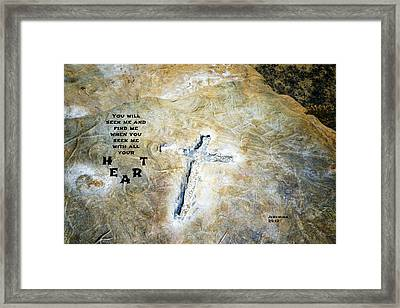 Cross And Heart Framed Print by Joseph S Giacalone