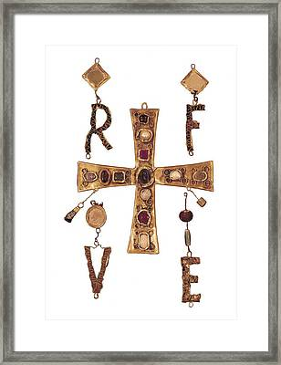 Cross And Letters With Inlay Framed Print