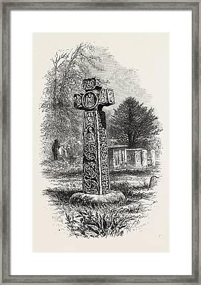 Cross At Eyam, Derbyshire, England, Uk, Britain Framed Print by English School