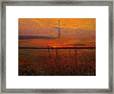 Cross At Sunrise Framed Print by J Larry Walker