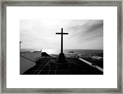 Cross Atop Old Chapel In Village  Framed Print