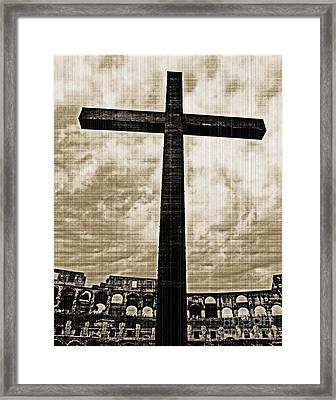 Framed Print featuring the photograph Cross Colosseum Rome - Old Photo Effect by Cheryl Del Toro