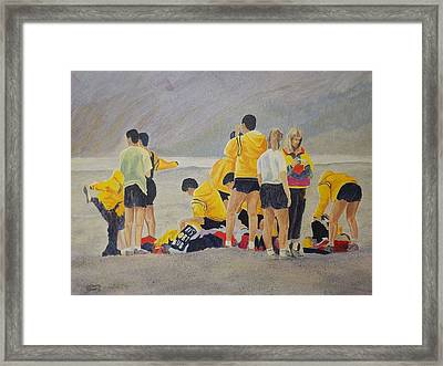 Framed Print featuring the painting Cross Country Beach Run by Richard Faulkner
