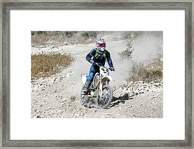 Cross Country Motorbike Race Framed Print by Photostock-israel