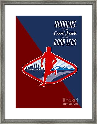 Cross Country Runner Retro Poster Framed Print by Aloysius Patrimonio