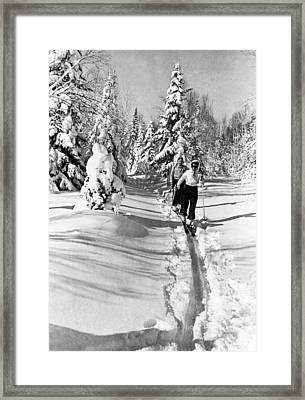 Cross Country Skiing In Canada Framed Print by Underwood Archives