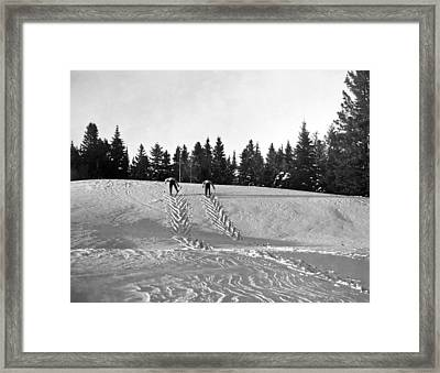 Cross Country Skiing In Quebec Framed Print by Underwood Archives