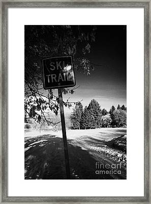 cross country skiing ski trail in kinsmen park Saskatoon Saskatchewan Canada Framed Print by Joe Fox