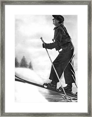 Cross Country Skiing Framed Print by Underwood Archives