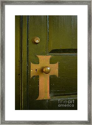 Cross Door Plate Framed Print by Bob Sample