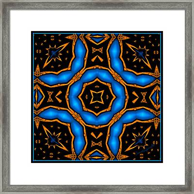 Cross In Electric Blue Baroque Style 2 Framed Print by Marcela Bennett