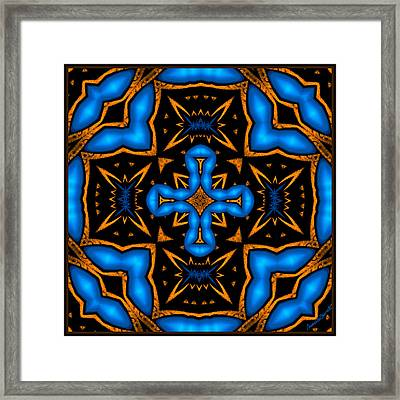 Cross In Neon Blue Baroque Style Framed Print by Marcela Bennett