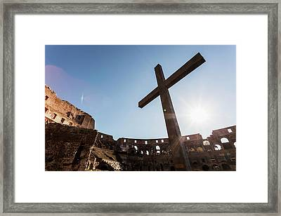 Cross In The Colosseum  Rome, Italy Framed Print by Reynold Mainse
