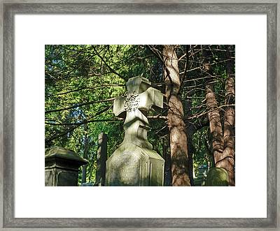 Cross In The Forest Framed Print