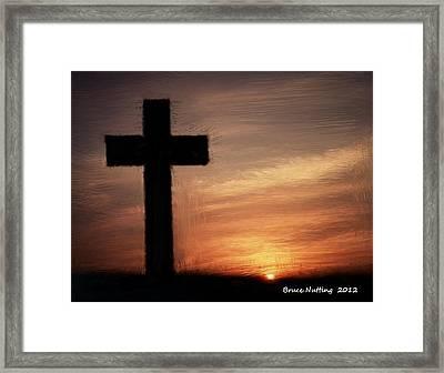 Cross In The Sunset Framed Print