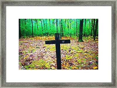 Cross In Woods Framed Print by Laura D Young