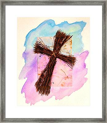 Cross Of Sticks Framed Print by Pattie Calfy