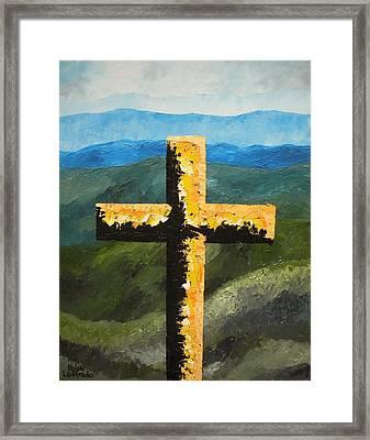 Cross Of The Mountain Ridges Framed Print by Ralph Loffredo