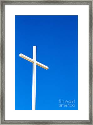 Cross On Blue Sky Framed Print