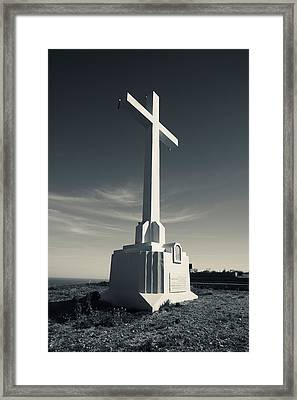 Cross On Mont St-clair, Sete, Herault Framed Print by Panoramic Images