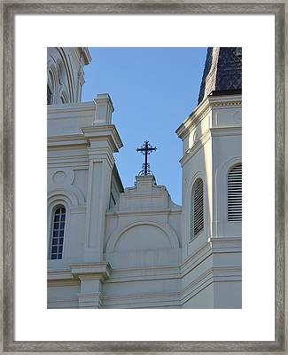 Cross On The Cathedral Framed Print by Margaret Bobb