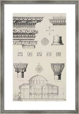 Cross Section And Architectural Details Of Kutciuk Aja Sophia The Church Of Sergius And Bacchus Framed Print by D Pulgher