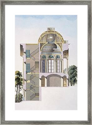 Cross Section Of The Pavilion Framed Print by Pierre Jacques Goetghebuer