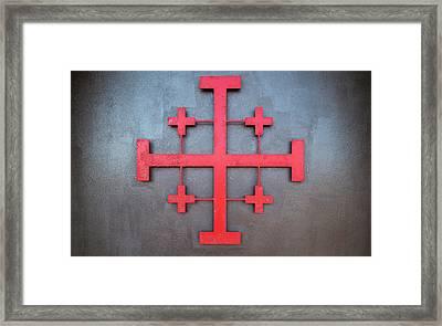 Cross Symbol On The Wall Of St. John Framed Print