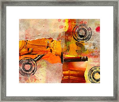 Cross Town Bus Abstract Collage Painting Framed Print