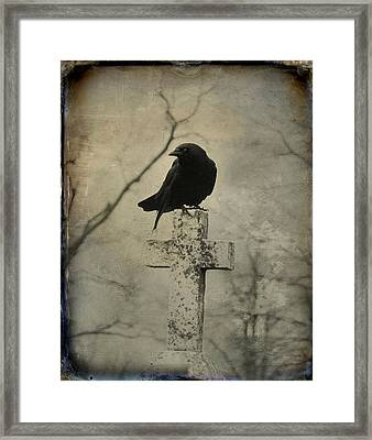 Crow On A Crooked Old Cross Framed Print by Gothicrow Images