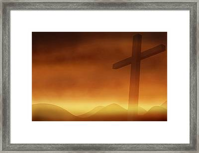 Cross With The Sunset  Background Framed Print by Somkiet Chanumporn