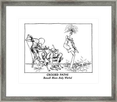 Crossed Paths Boswell Meets Andy Warhol Framed Print by Ronald Searle