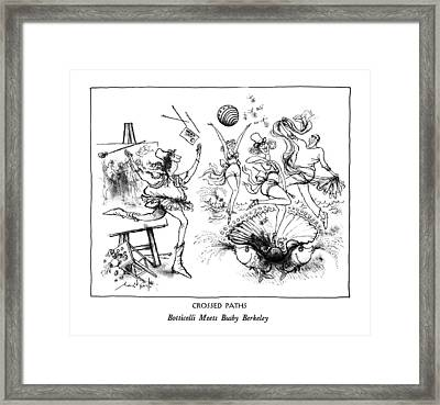 Crossed Paths Botticelli Meets Busby Berkeley Framed Print by Ronald Searle