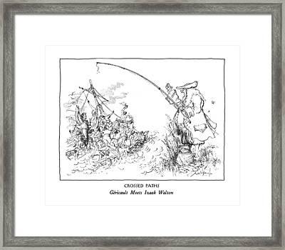 Crossed Paths Gericault Meets Izaak Walton Framed Print by Ronald Searle