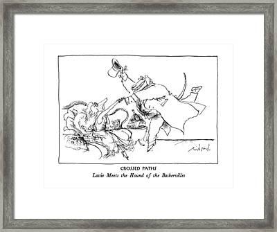 Crossed Paths Lassie Meets The Hound Framed Print