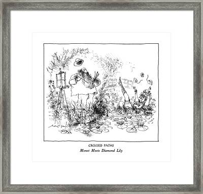 Crossed Paths Monet Meets Diamond Lily Framed Print