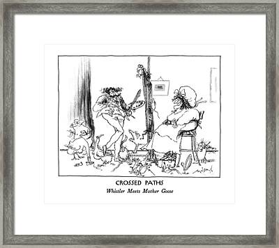 Crossed Paths Whistler Meets Mother Goose Framed Print by Ronald Searle