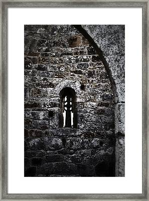 Crosses And Stone Walls At Clonmacnoise Framed Print