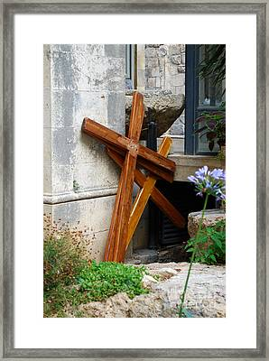 Crosses At Church Of The Flagellation Framed Print by Eva Kaufman