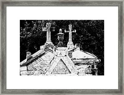 Crosses Of Metairie Cemetery Framed Print by Andy Crawford