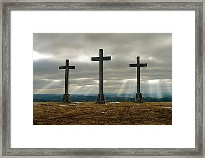 Framed Print featuring the photograph Crosses by Rod Jones