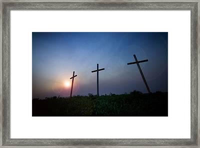 Crosses Three Framed Print by Jeff Klingler