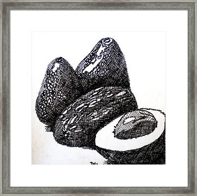 Crosshatched Avocados Framed Print by Debi Starr