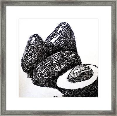 Crosshatched Avocados Framed Print by Debi Starr