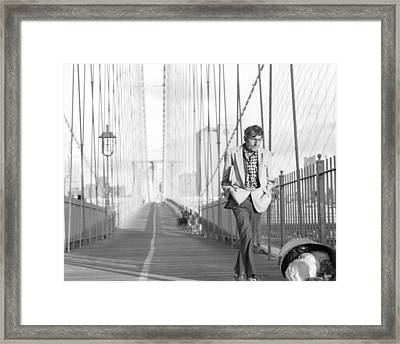 Framed Print featuring the photograph Crossing Brooklyn Bridge by Dave Beckerman